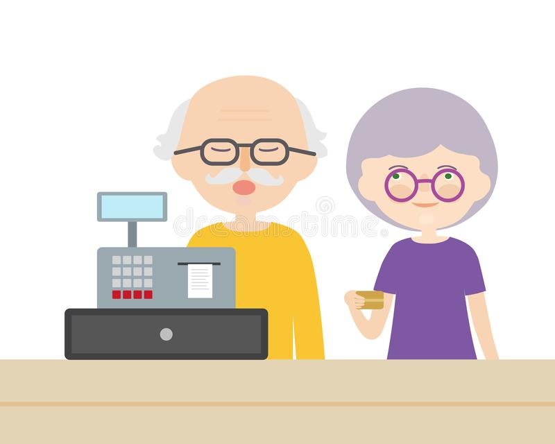 Un par de personas mayores, hombre y mujer pagando una tarjeta de crédito en un escritorio de efectivo, vector libre illustration