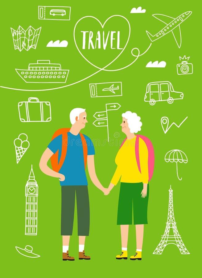 Un par de viajeros jubilados con mochilas stock de ilustración