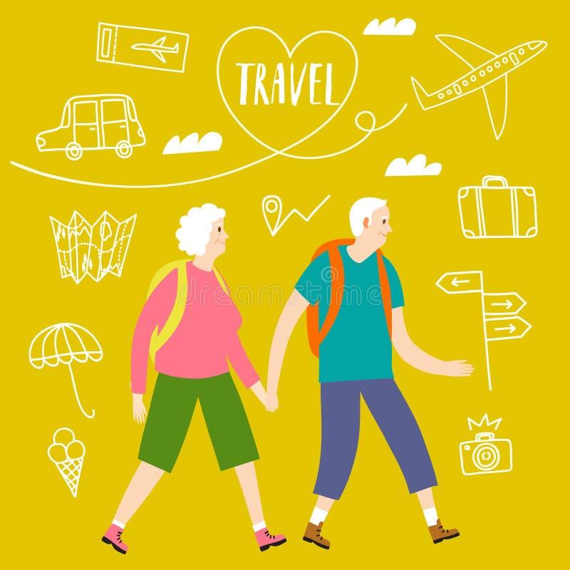 Un par de viajeros jubilados con mochilas ilustración del vector