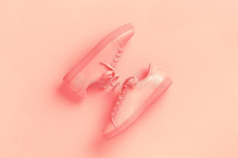 Un par de zapatos coralinos en el fondo coralino imagen de archivo libre de regalías
