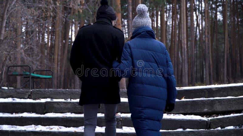 Un par joven y hermoso está caminando en el parque del invierno, está abrazando y se está divirtiendo Un día y la historia de amo imagenes de archivo