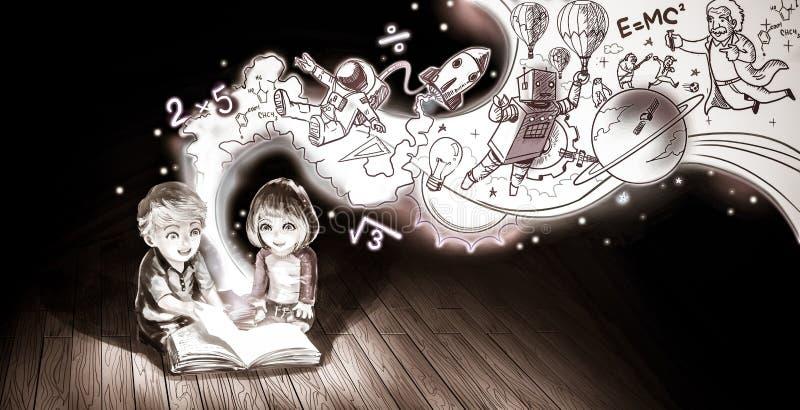 Un par lindo de la historieta de los niños caucásicos muchacho y muchacha stock de ilustración
