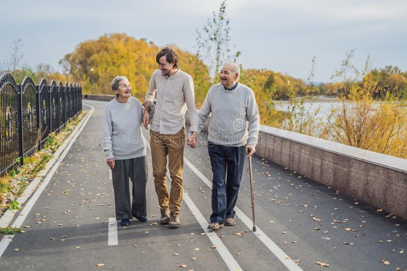 Un par mayor camina en el parque con un nieto auxiliar o adulto masculino Cuidando para los ancianos, ofreci?ndose voluntariament fotos de archivo libres de regalías