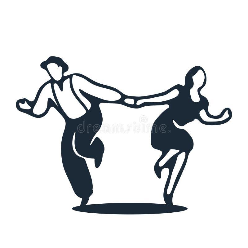 Un par que baila el salto lindy ilustración del vector