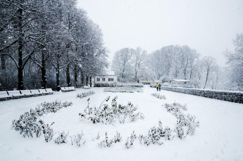 Un par que corre durante una nieve cae en el parque de Vigeland en Oslo fotos de archivo libres de regalías