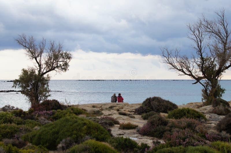Un par que mira hacia fuera al mar fotografía de archivo