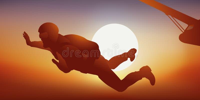 Un parachutiste saute d'un avion au coucher du soleil illustration de vecteur