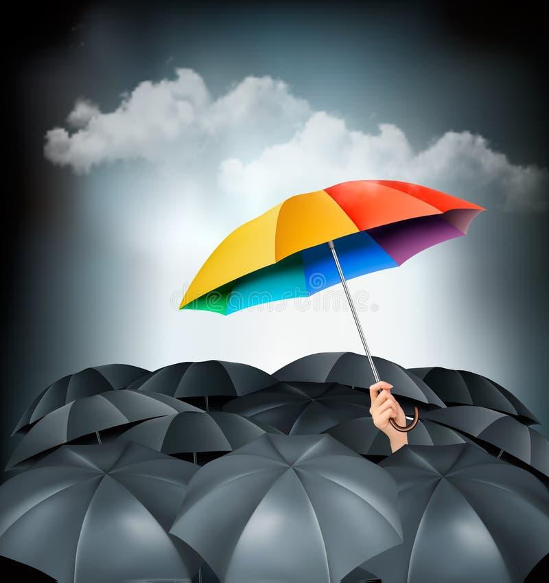 Un paraguas del arco iris que se coloca hacia fuera en un fondo gris ilustración del vector