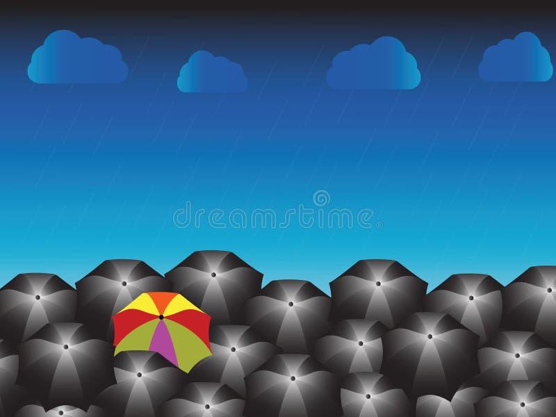 Un paraguas del arco iris y muchos negros con día lluvioso stock de ilustración