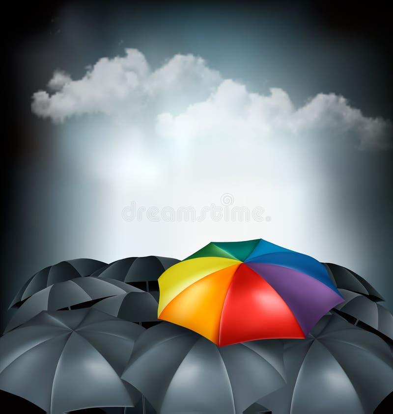 Un parapluie d'arc-en-ciel parmi le gris ceux Concept d'unicité illustration stock
