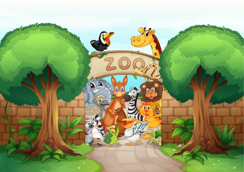 Un parque zoológico y animales stock de ilustración