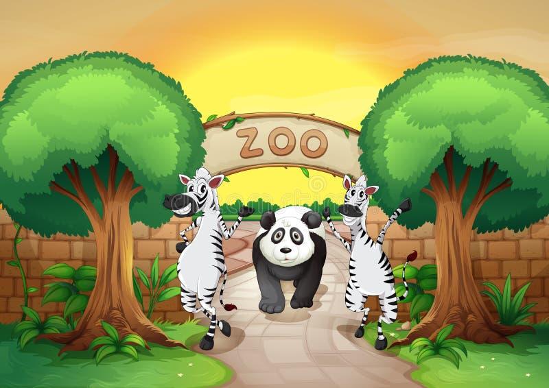 Un parque zoológico y los animales libre illustration