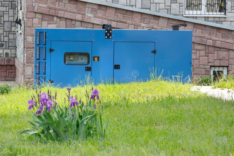 Un parterre des iris sur le fond d'un générateur diesel pour l'approvisionnement d'alimentation de secours contre le mur du médic images stock