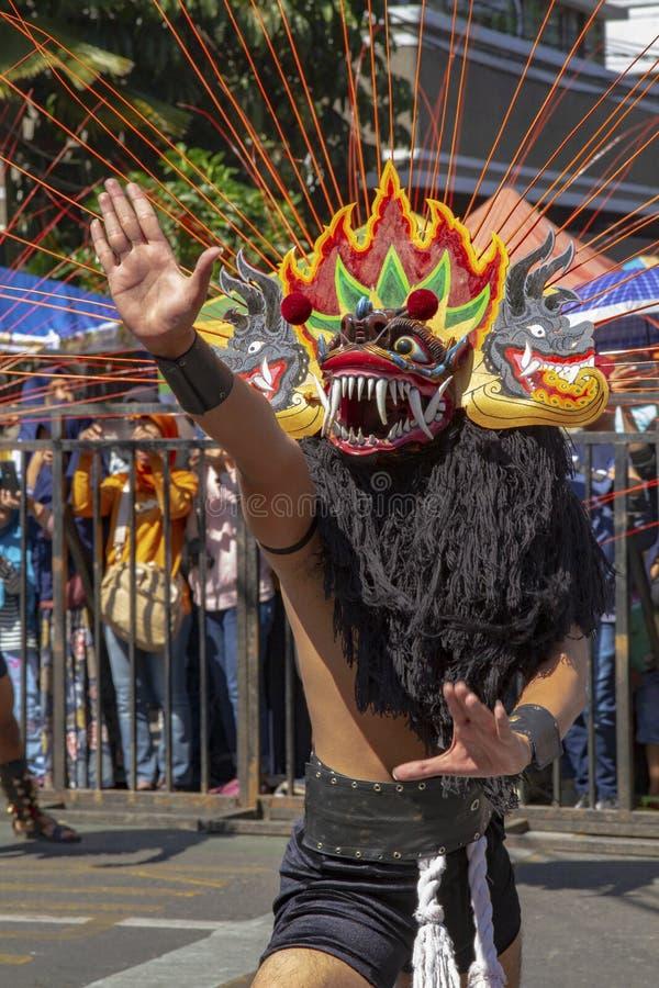 Un participant de carnaval au festival 2019 de l'Asie Afrique image libre de droits