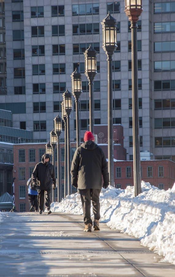 Un paseo frío en Boston fotos de archivo libres de regalías