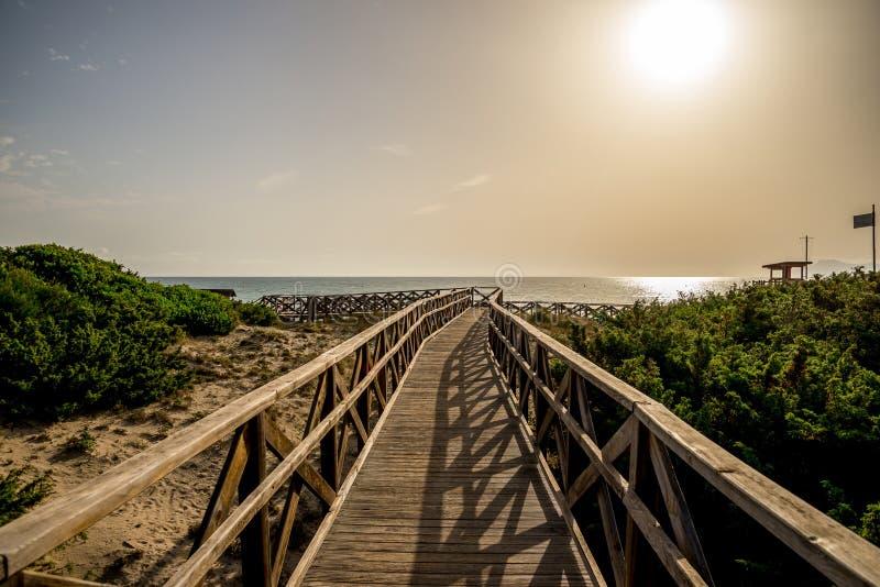 Un paseo marítimo a la playa de Playa de Muro adentro puede Picafort, bahía de Alcudia imagen de archivo