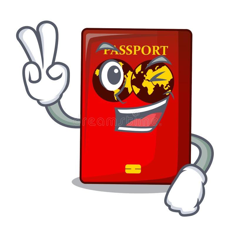 Un passaporto rosso di due dita nella borsa del fumetto royalty illustrazione gratis
