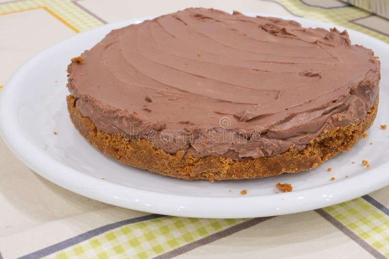 Un pastel de queso del nutella foto de archivo
