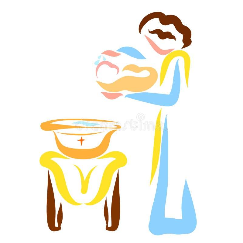 Un pastor bautiza a un bebé recién nacido en iglesia stock de ilustración