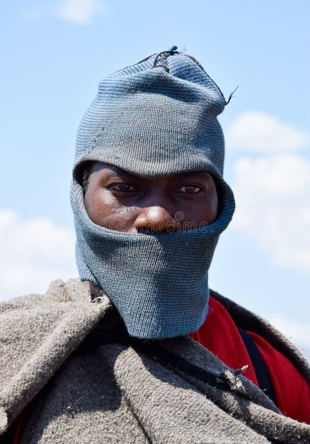 Un pastore di Besotho nel Lesotho fotografia stock