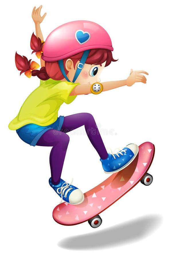 Un patinaje de la mujer joven stock de ilustración