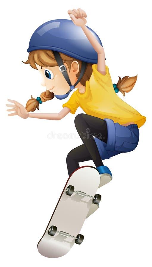 Un patinaje enérgico de la mujer joven ilustración del vector