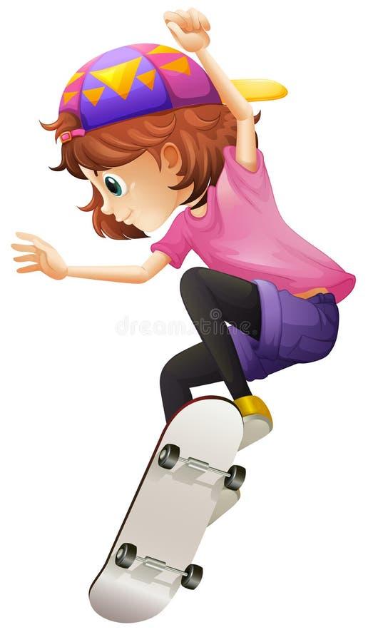 Un patinaje enérgico de la señora joven ilustración del vector