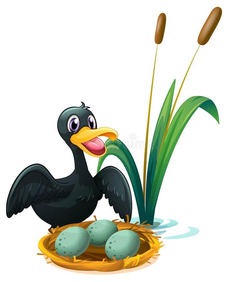 Un pato cerca de la jerarquía con los huevos libre illustration