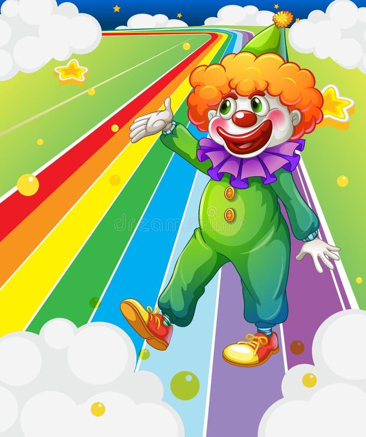 Un payaso que se coloca en el camino colorido ilustración del vector