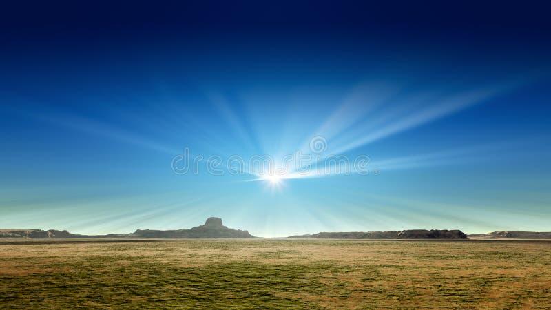 Un paysage de désert avec le soleil rayonne dans le ciel bleu illustration de vecteur