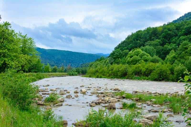 Un paysage merveilleux dans les Carpathiens avec une rivière sur le fond images stock