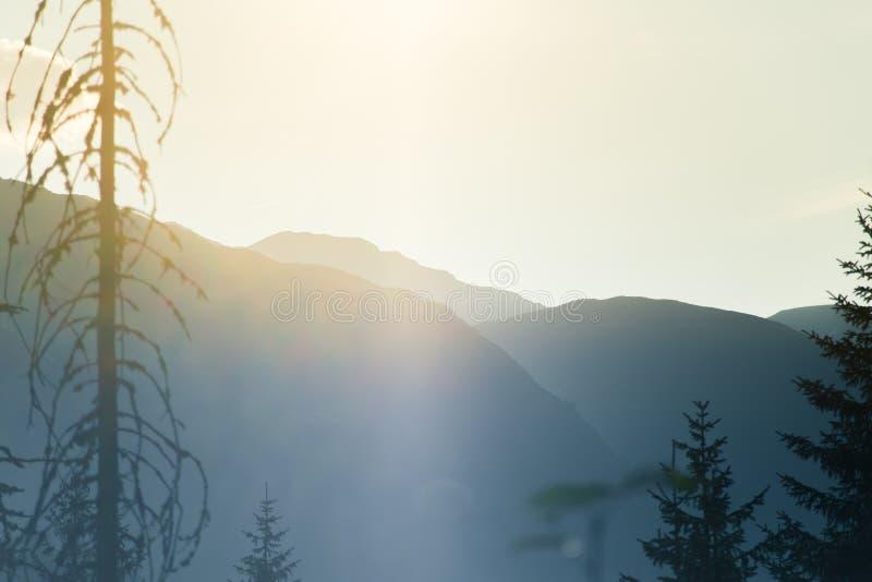 Un paysage rêveur et flou de montagnes près de coucher du soleil Flas de Sun \ au sujet de et regard brumeux dans des tons bleus  photos libres de droits
