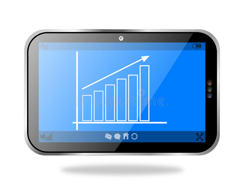 PC de comprimé montrant une échelle de croissance d'affaires illustration de vecteur