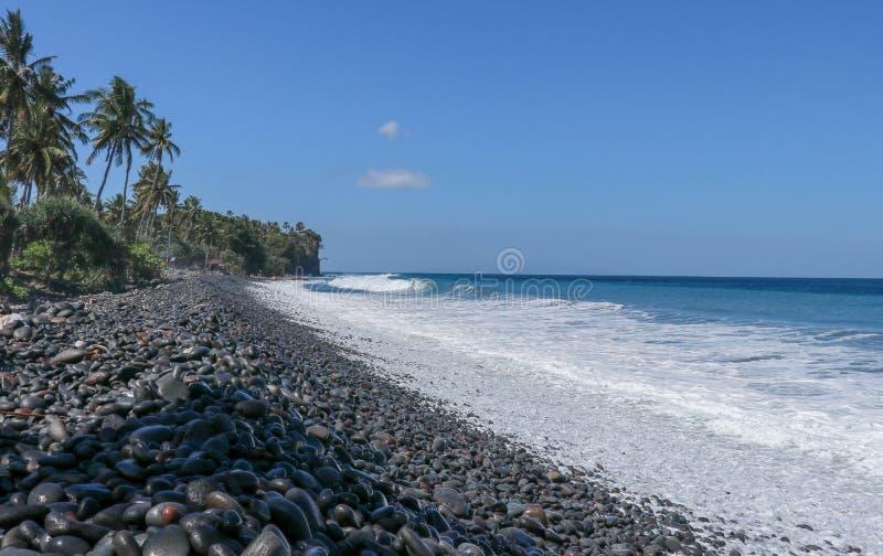 Un Pebble Beach vierge sans fin avec les palmiers et la végétation tropicale sur l'île de Bali en Indonésie Les vagues lavent la  photos stock
