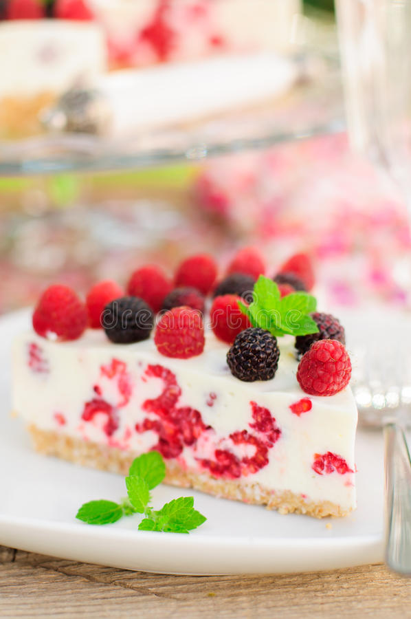 Un pedazo de Ninguno-cuece el pastel de queso de la frambuesa imagen de archivo libre de regalías