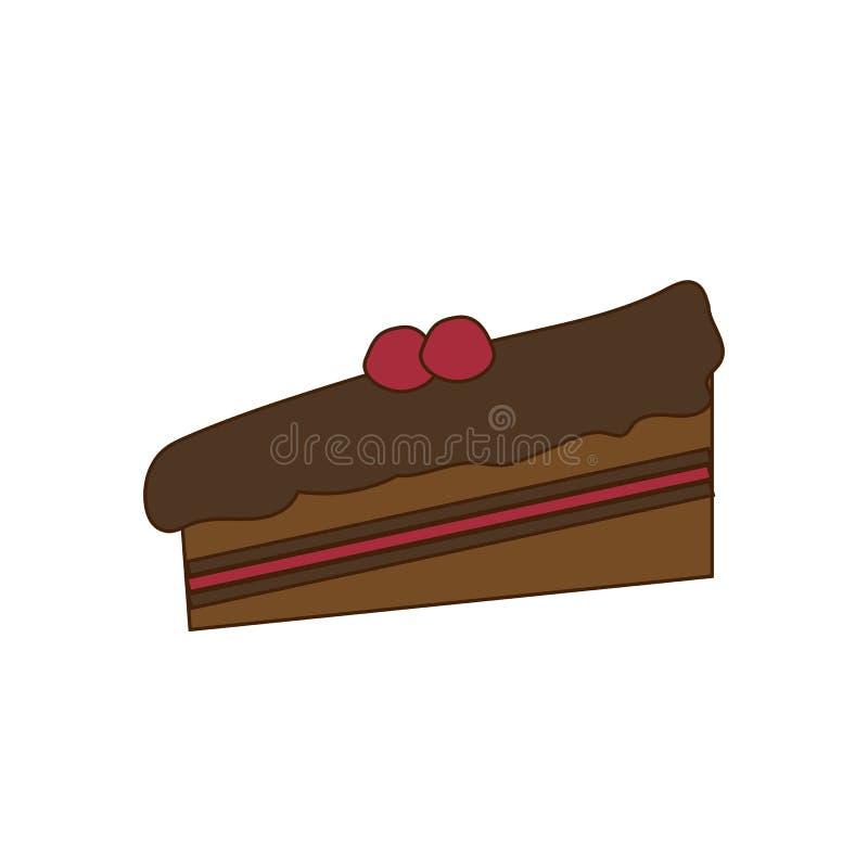 Un pedazo de torta de chocolate stock de ilustración