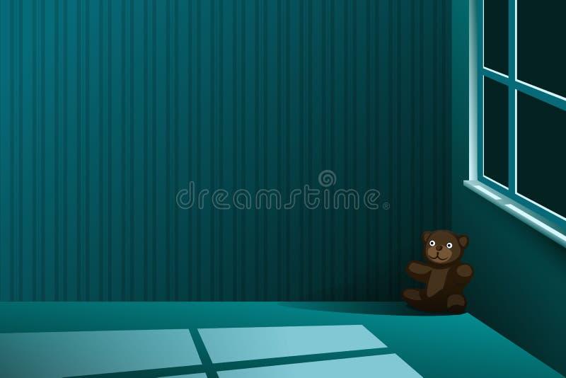 Un peluche-oso se fue solamente en la esquina de un cuarto vacío en la noche stock de ilustración