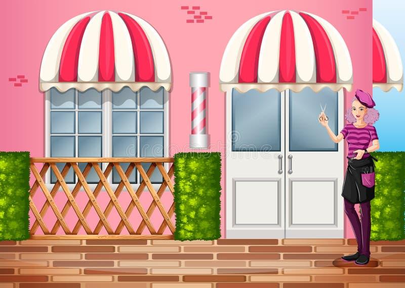 Un peluquero delante del restaurante stock de ilustración