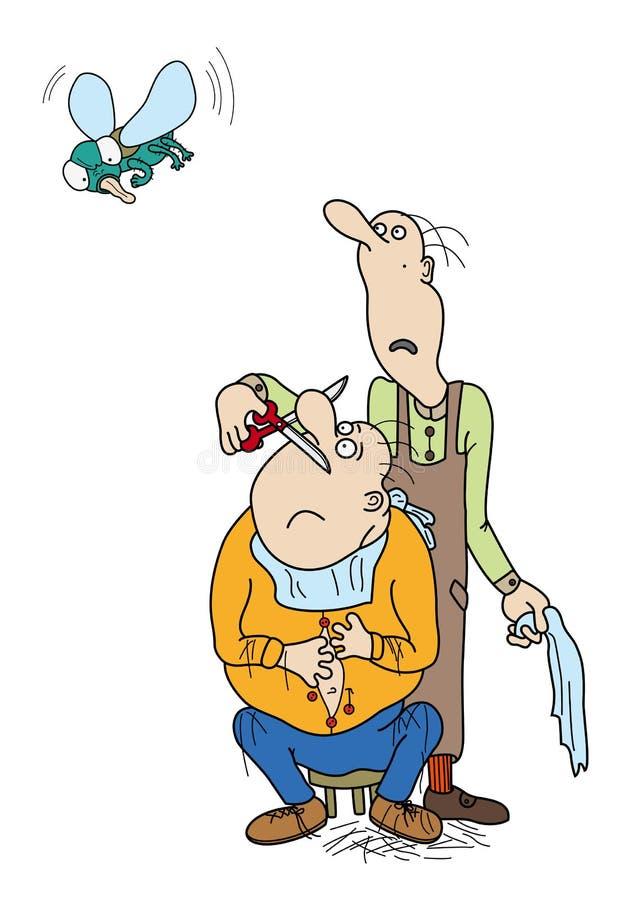 Un peluquero que mira fijamente la mosca grande stock de ilustración