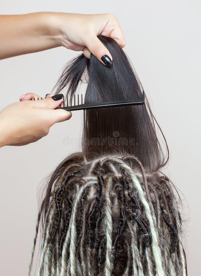 Un peluquero teje dreadlocks a una chica joven hermosa imágenes de archivo libres de regalías