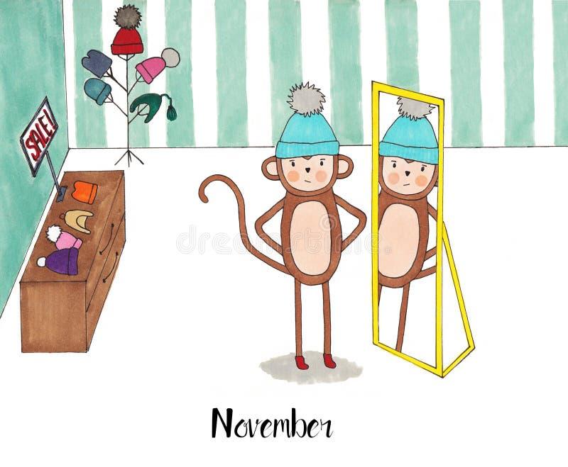 Un an pendant la vie d'un singe Lulu illustration de vecteur