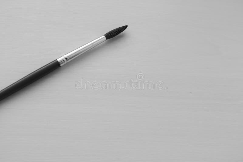 Un pennello sottile su fondo bianco come concetto del disegno Monocromio in bianco e nero fotografia stock libera da diritti