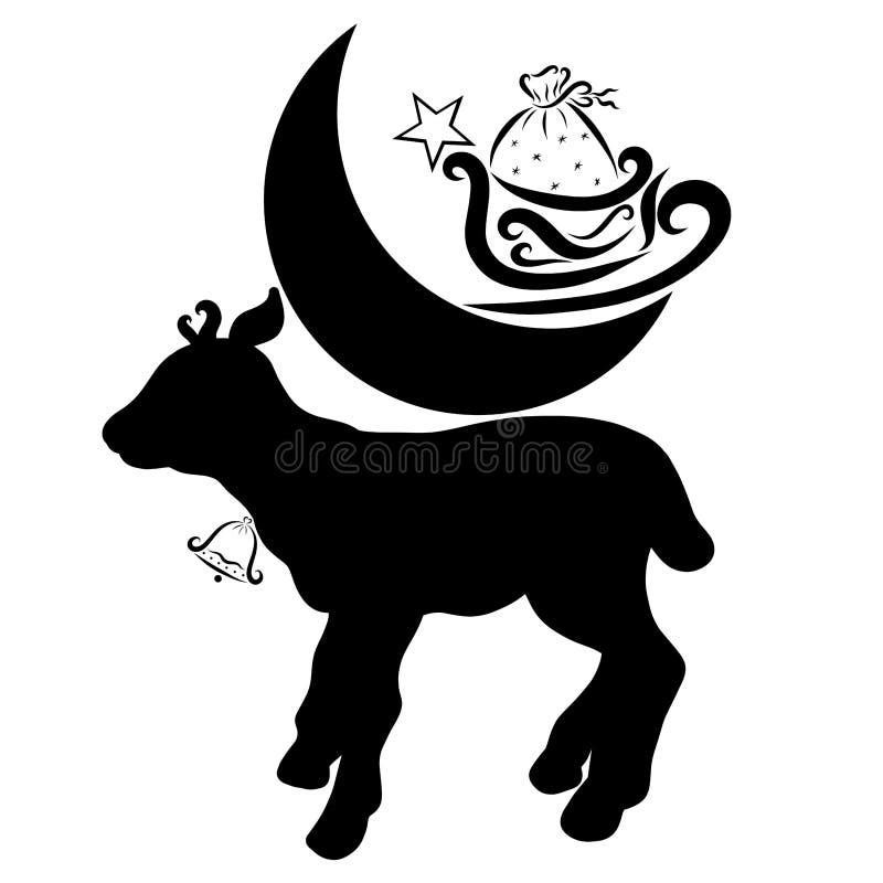Un pequeño ciervo con una campana lleva la luna en su parte posterior, trineo y ilustración del vector