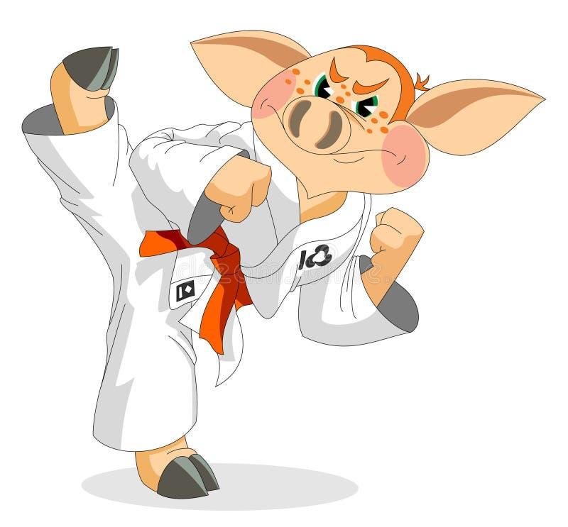 Un pequeño cochinillo es atleta del karate stock de ilustración