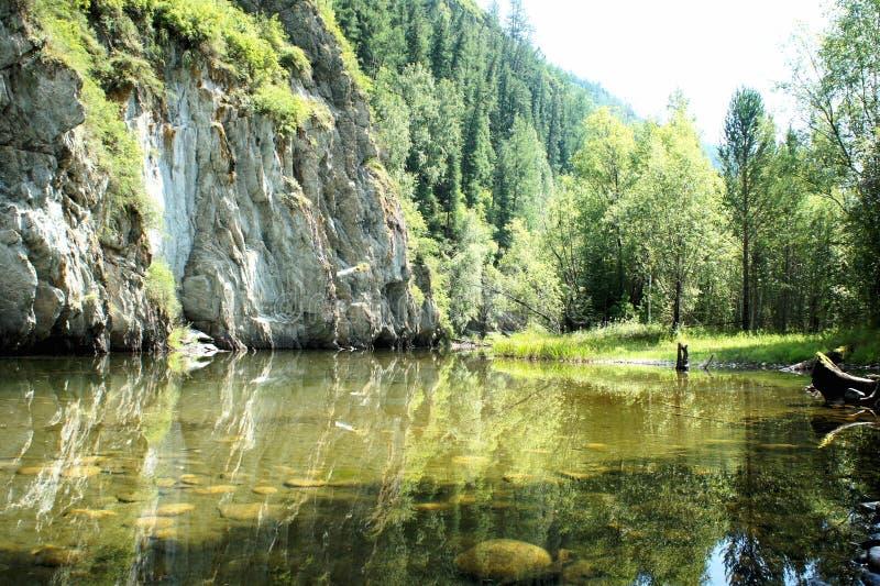 Un pequeño lago del bosque El paisaje pintoresco Khakassia foto de archivo libre de regalías