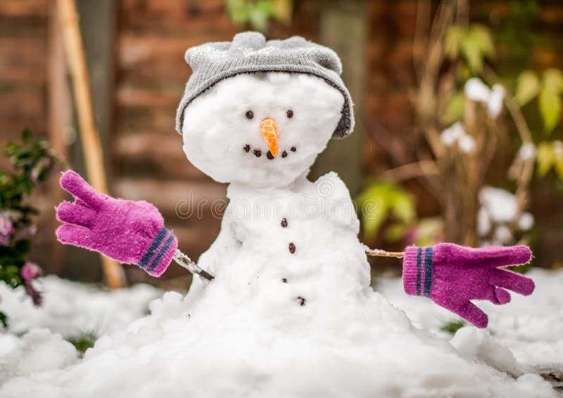 Un pequeño muñeco de nieve en un jardín fotos de archivo