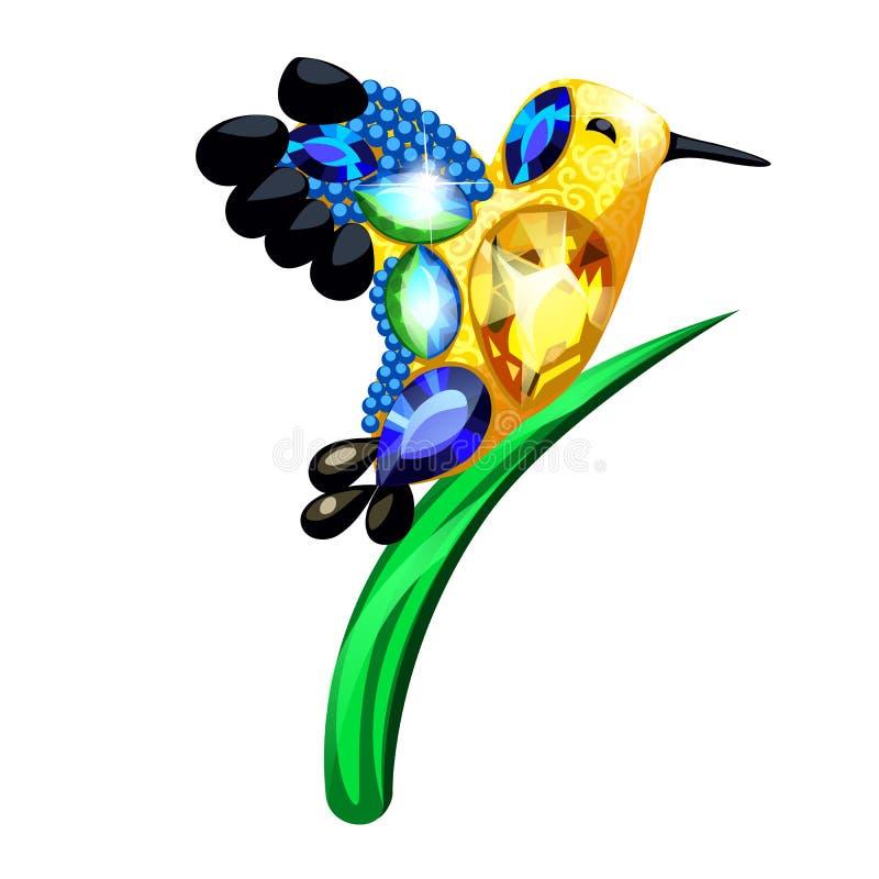 Un peque?o p?jaro de oro y una cuchilla de la estatuilla de la hierba hechos de piedras preciosas bajo la forma de broche aislada stock de ilustración