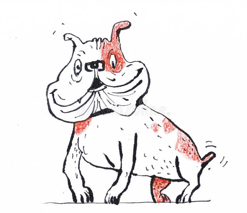 Un pequeño perro divertido en una mota Perfectamente conveniente para ilustrar las publicaciones ilustración del vector