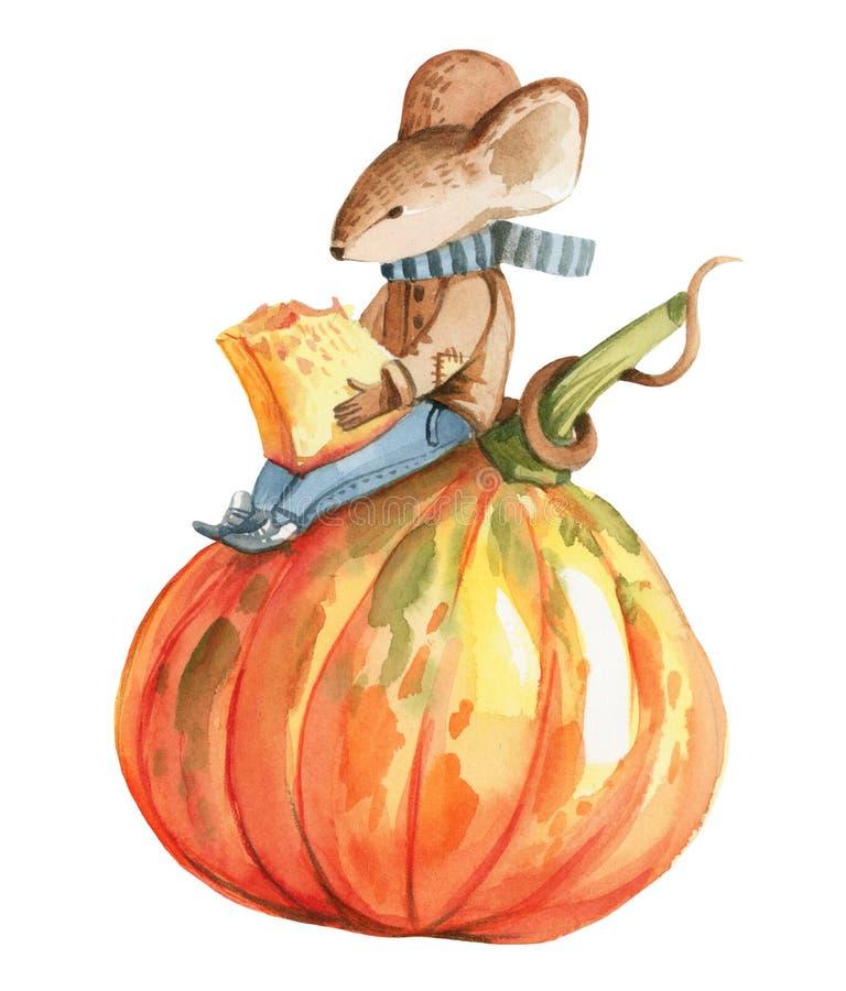 Un pequeño ratón gris en chaqueta y tejanos marrones stock de ilustración