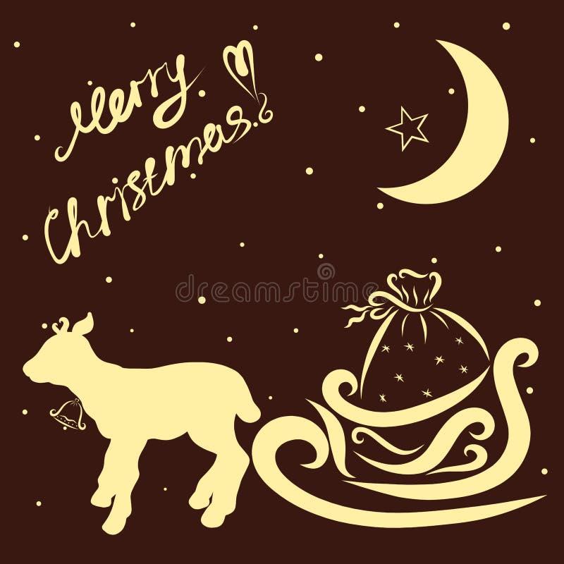 Un pequeño reno con el trineo de Santa Slaus, fondo oscuro, sn libre illustration